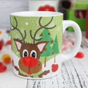 Santa & reindeer mug with cookies gift set